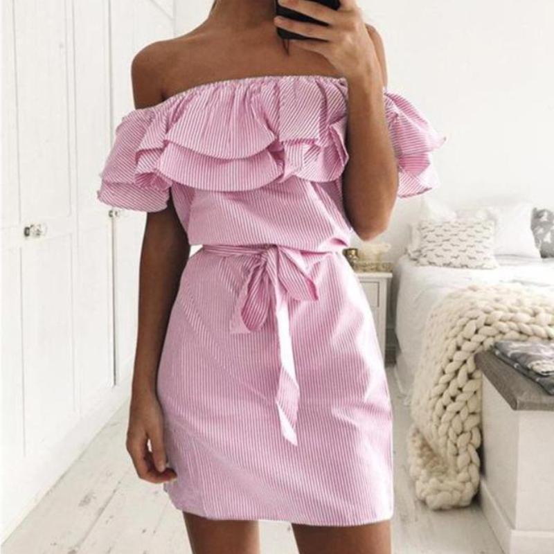Off Shoulder Ruffle Pin Stripe Dress Dresses Loom Rack Pink XS
