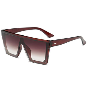 Onepiece Sharp Oversized Square Sunglasses Sunglasses Brown Frame Brown