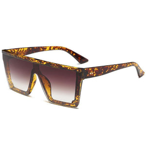 Onepiece Sharp Oversized Square Sunglasses Sunglasses Loom Rack Leopard Frame Brown