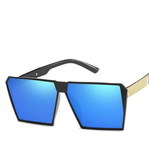 Oversized Reflective Square Sunglasses Sunglasses Loom Rack Blue