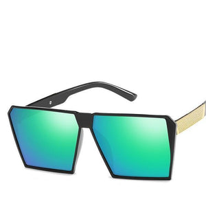 Oversized Reflective Square Sunglasses Sunglasses Loom Rack Green