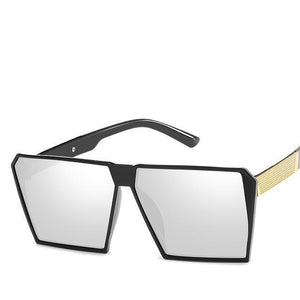Oversized Reflective Square Sunglasses Sunglasses Loom Rack White