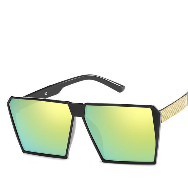 Oversized Reflective Square Sunglasses Sunglasses Loom Rack Yellow