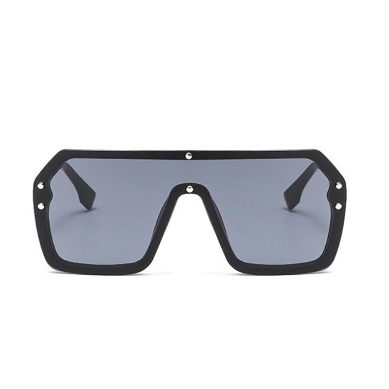 Oversized Retro Square Frame Transparent Sunglasses Sunglasses black without F
