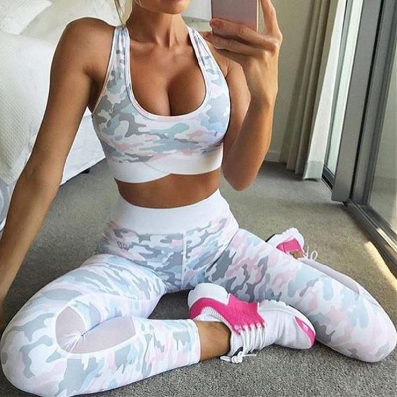 Pastel Camouflage Mesh Patchwork Leggings Leggings Loom Rack