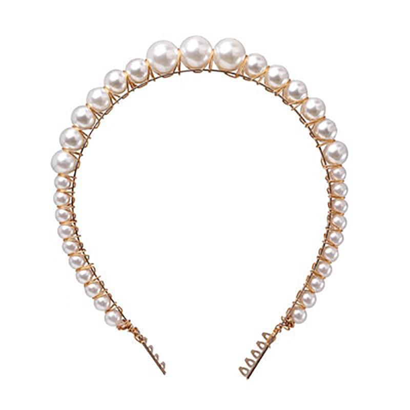 Pearl Beaded Headbands Headbands 90007-WH