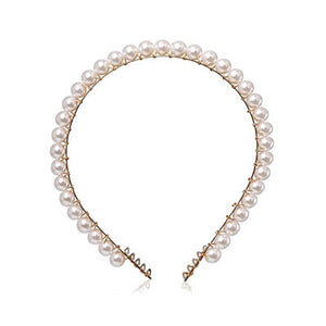 Pearl Beaded Headbands Headbands 90008-WH