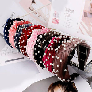 Pearl Bohemian Velvet Knot Hairband Headbands Loom Rack