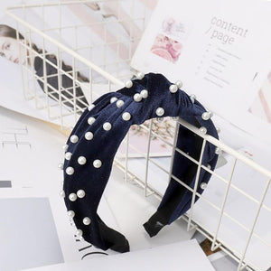 Pearl Bohemian Velvet Knot Hairband Headbands Loom Rack Blue