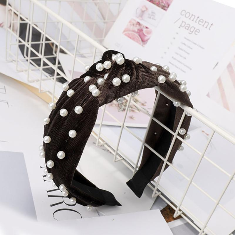 Pearl Bohemian Velvet Knot Hairband Headbands Loom Rack Brown