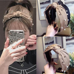 Pearls Solid Bow Knotted Hairband Headbands color 1