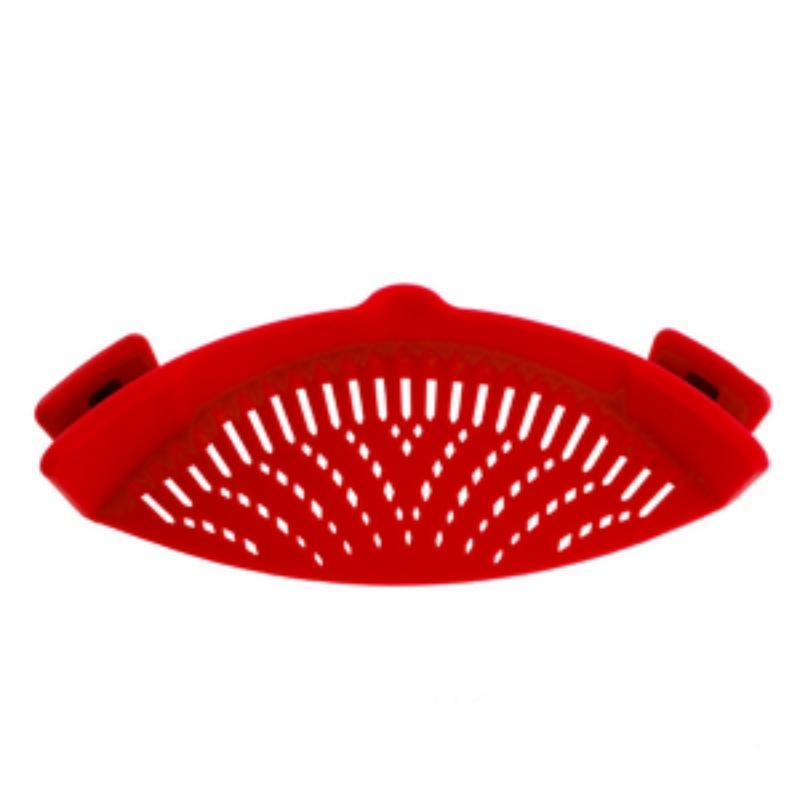 Perfect Fit Silicone Pot Bowl Clip-On Strainer Home Accessories Loom Rack Red