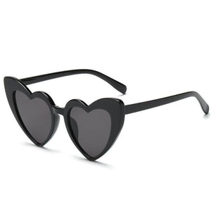 Pointed Cat Eye Heart Sunglasses Sunglasses Loom Rack black frame black