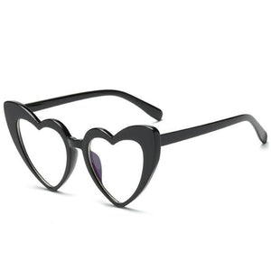 Pointed Cat Eye Heart Sunglasses Sunglasses Loom Rack black frame clear