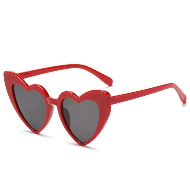 Pointed Cat Eye Heart Sunglasses Sunglasses Loom Rack red frame black