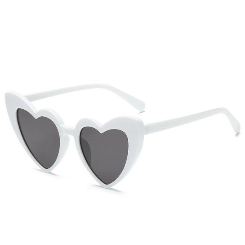 Pointed Cat Eye Heart Sunglasses Sunglasses Loom Rack white