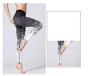 Premium Abstract Print High Waist Leggings Leggings Black White / S