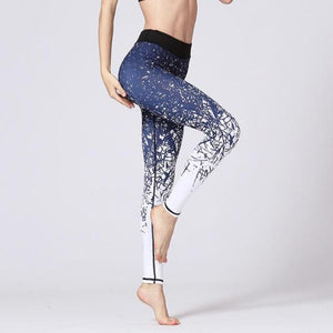 Premium Abstract Print High Waist Leggings Leggings Loom Rack Blue White S