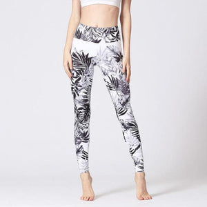 Premium Abstract Print High Waist Leggings Leggings Loom Rack White Leaf S