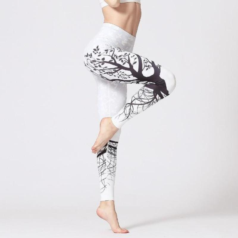 Premium Abstract Print High Waist Leggings Leggings Loom Rack White S