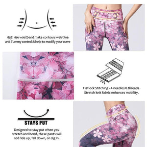 Premium Flower Print High Waist Leggings Leggings Loom Rack
