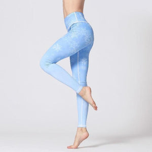 Premium Flower Print High Waist Leggings Leggings Loom Rack Blue Long S