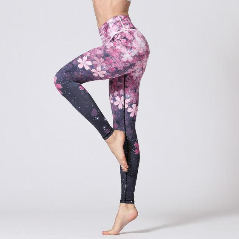 Premium Flower Print High Waist Leggings Leggings Sakura Long / S