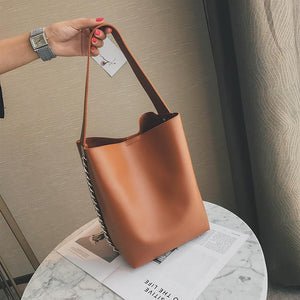 PU Leather Bucket Bag Top Handle Bags Loom Rack