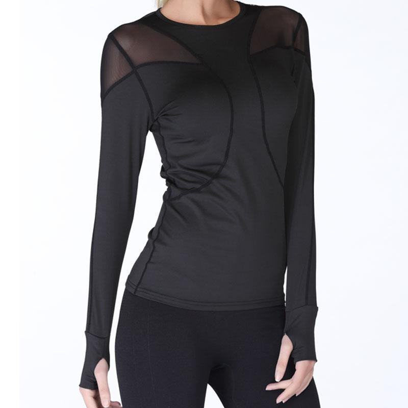 Quick Dry Breathable Mesh Long Sleeve Yoga Top Yoga Shirts Loom Rack Black S