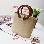 Rattan Handbag with Wooden Handles Rattan Bags Loom Rack