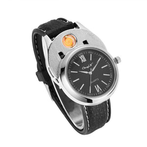 Rechargeable USB Lighter Watch Quartz Watches Loom Rack Black Silver