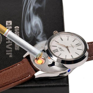 Rechargeable USB Lighter Watch Quartz Watches Loom Rack Brown Silver