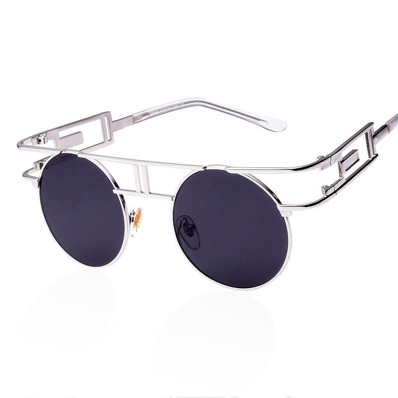 Rectangular Geometric Metal Frame Round Sunglasses Sunglasses Loom Rack