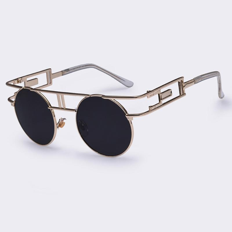 Rectangular Geometric Metal Frame Round Sunglasses Sunglasses Loom Rack Black Gold