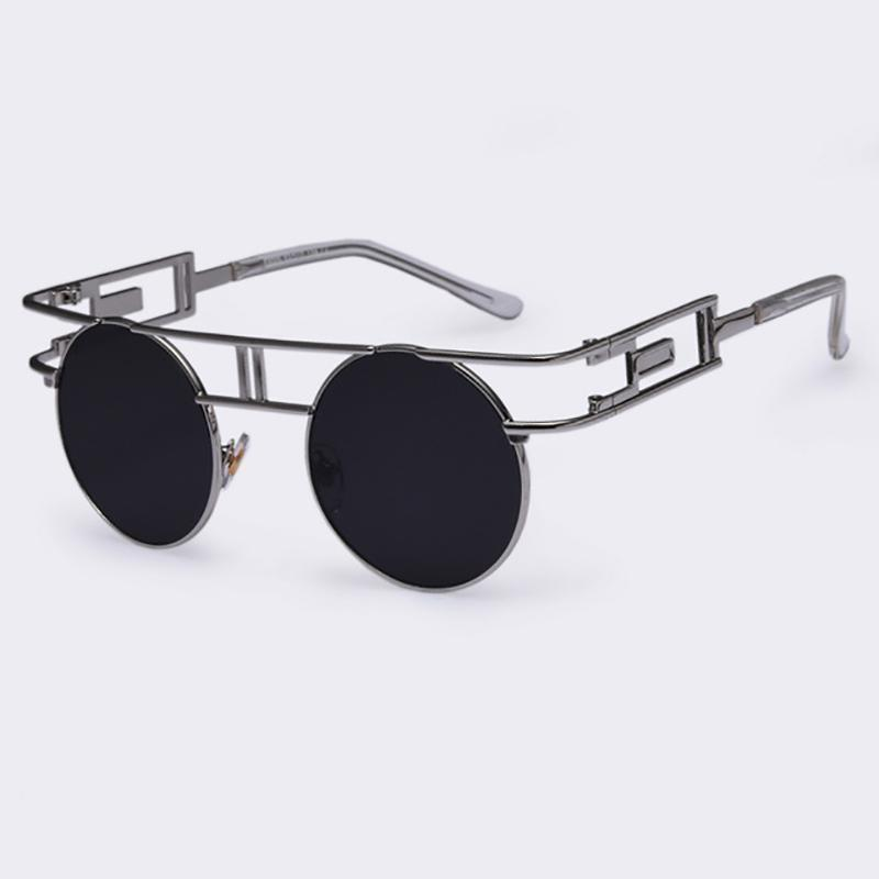 Rectangular Geometric Metal Frame Round Sunglasses Sunglasses Loom Rack Black Silver