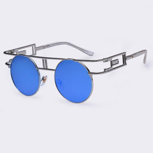 Rectangular Geometric Metal Frame Round Sunglasses Sunglasses Loom Rack Blue Silver