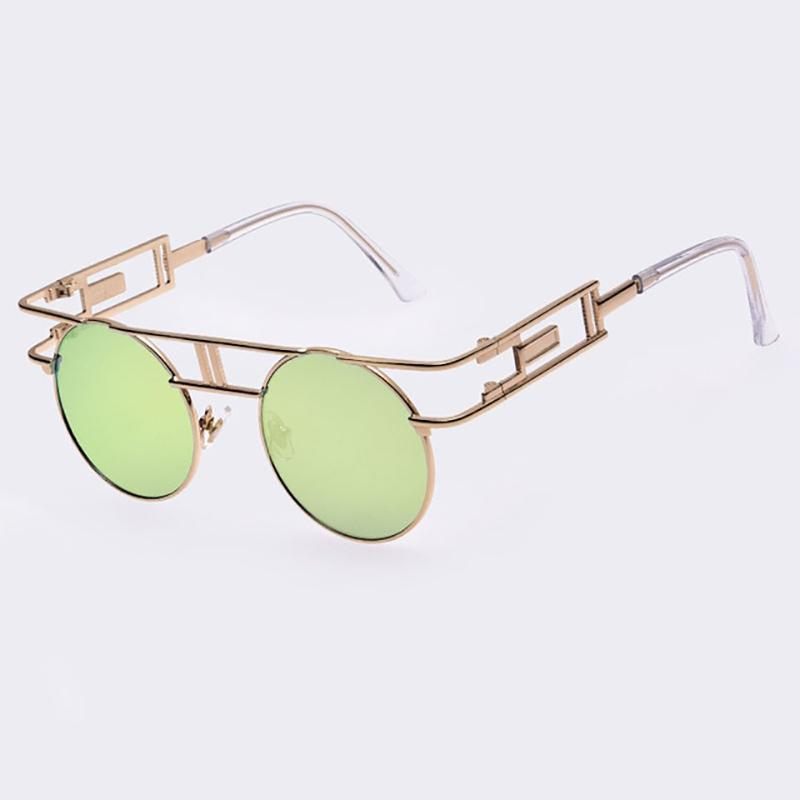 Rectangular Geometric Metal Frame Round Sunglasses Sunglasses Loom Rack Green Gold