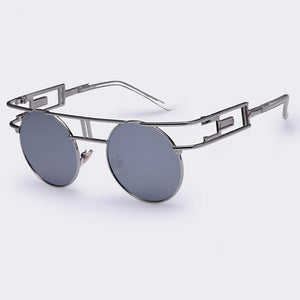 Rectangular Geometric Metal Frame Round Sunglasses Sunglasses Loom Rack Grey Silver