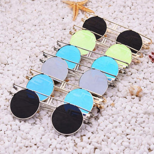 Rectangular Geometric Metal Frame Round Sunglasses Sunglasses NO1