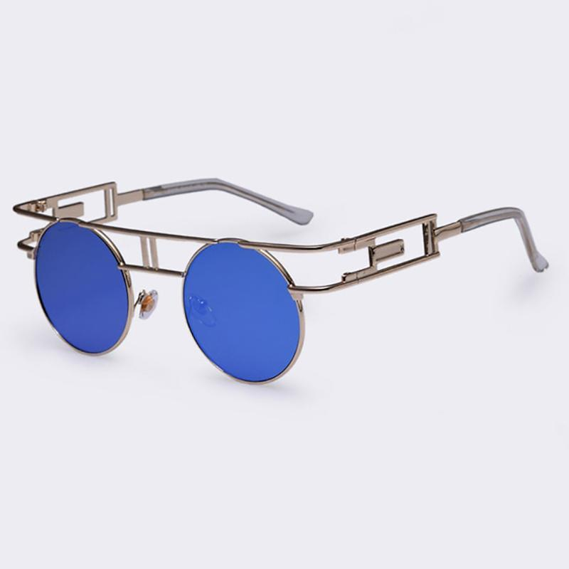 Rectangular Geometric Metal Frame Round Sunglasses Sunglasses NO5