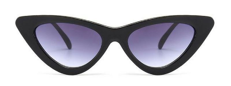 Retro Cat Eye Pointy Sunglasses Sunglasses Loom Rack Black Frame/Gray Lens
