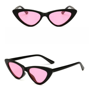 Retro Cat Eye Pointy Sunglasses Sunglasses Loom Rack Black Frame/Pink Lens