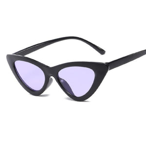 Retro Cat Eye Pointy Sunglasses Sunglasses Loom Rack Black Frame/Purple Lens