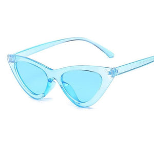 Retro Cat Eye Pointy Sunglasses Sunglasses Loom Rack Blue Frame/Blue Lens