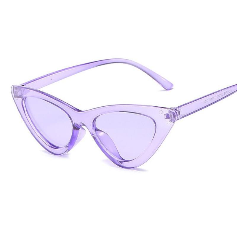 Retro Cat Eye Pointy Sunglasses Sunglasses Loom Rack Purple Frame/Purple Lens