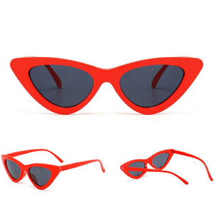Retro Cat Eye Pointy Sunglasses Sunglasses Loom Rack Red Frame/Charcoal Lens