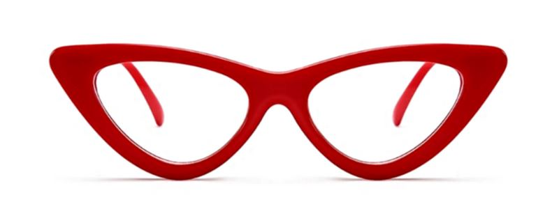 Retro Cat Eye Pointy Sunglasses Sunglasses Loom Rack Red Frame/Clear Lens
