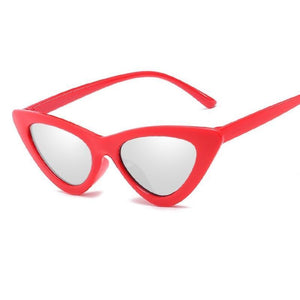 Retro Cat Eye Pointy Sunglasses Sunglasses Loom Rack Red Frame/Silver Lens
