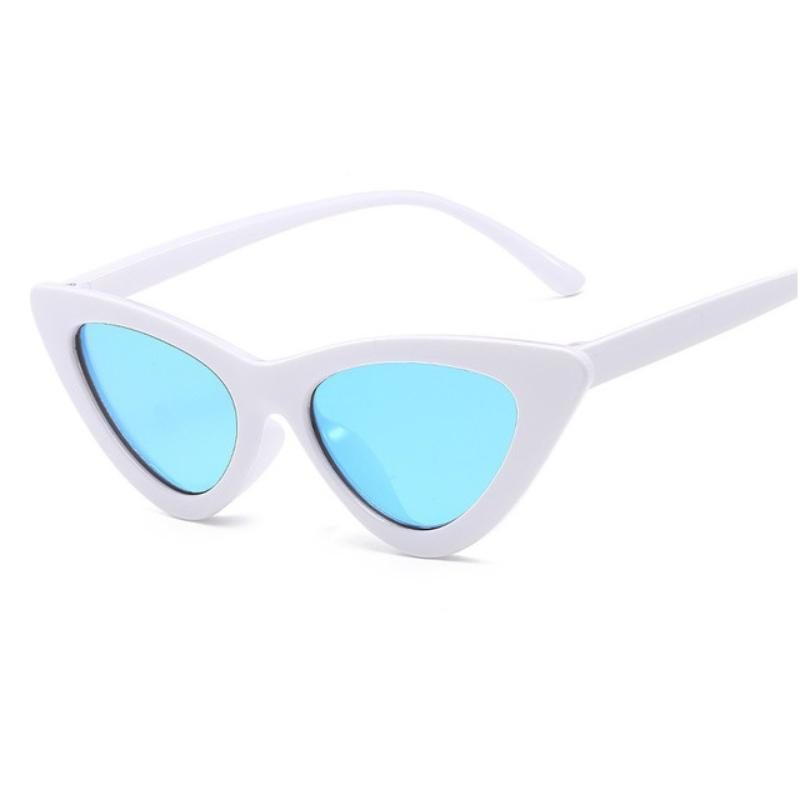 Retro Cat Eye Pointy Sunglasses Sunglasses Loom Rack White Frame/Blue Lens