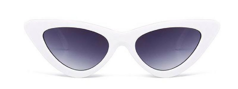 Retro Cat Eye Pointy Sunglasses Sunglasses Loom Rack White Frame/Gray Lens